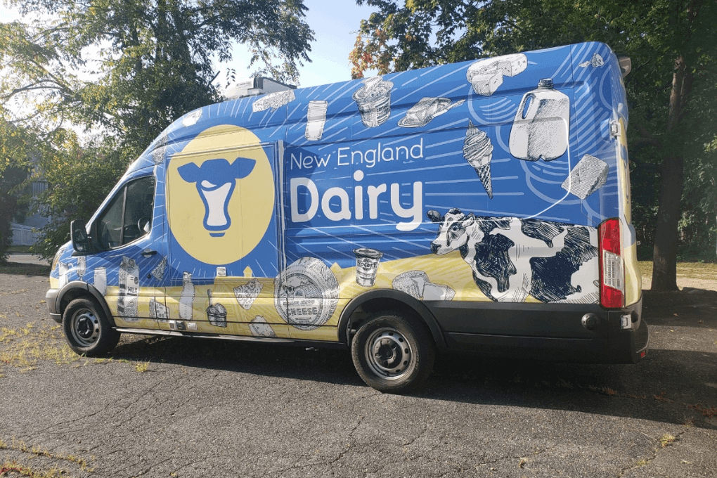 Side view of our new mobile dairy bar van