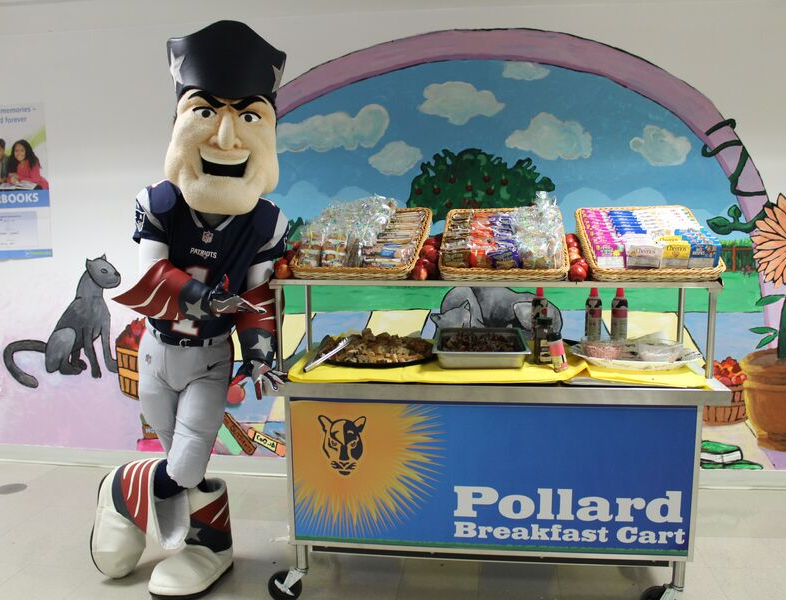 patriots mascot with breakfast cart